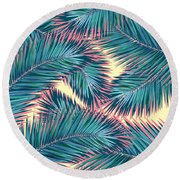Palm Trees  Round Beach Towel by Mark Ashkenazi