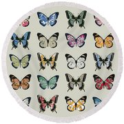 Papillon Round Beach Towel by Sarah Hough