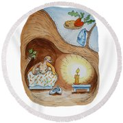 Peter Rabbit And His Dream Round Beach Towel by Irina Sztukowski