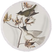 Pewit Flycatcher Round Beach Towel by John James Audubon