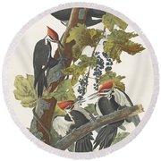 Pileated Woodpecker Round Beach Towel by John James Audubon
