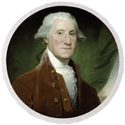 President George Washington  Round Beach Towel by War Is Hell Store