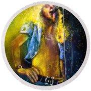 Robert Plant 01 Round Beach Towel by Miki De Goodaboom