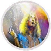 Robert Plant 02 Round Beach Towel by Miki De Goodaboom