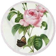 Rosa Centifolia Round Beach Towel by Pierre Joseph Redoute