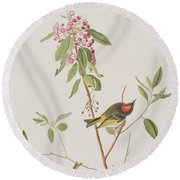 Ruby Crowned Wren Round Beach Towel by John James Audubon