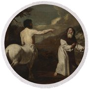 Saint Anthony Abbot And The Centaur Round Beach Towel by Francesco Guarino