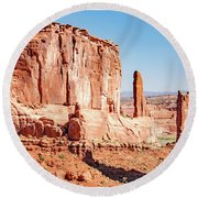 Round Beach Towel featuring the photograph Sandstone Butte And Canyon Floor, Arches National Park, Moab, Ut by A Gurmankin