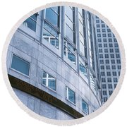 Skyscrapers In A City, Canary Wharf Round Beach Towel by Panoramic Images