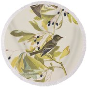 Small Green Crested Flycatcher Round Beach Towel by John James Audubon
