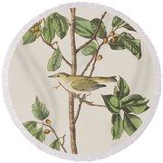 Tennessee Warbler Round Beach Towel by John James Audubon