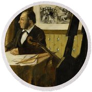 The Cellist Pilet Round Beach Towel by Edgar Degas