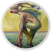 The Finandromorph Round Beach Towel by Patrick Anthony Pierson