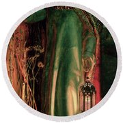 The Light Of The World Round Beach Towel by William Holman Hunt