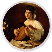 The Lute-player Round Beach Towel by Caravaggio