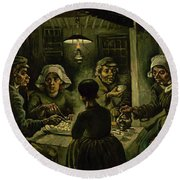 The Potato Eaters, 1885 Round Beach Towel by Vincent Van Gogh