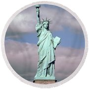The Statue Of Liberty Round Beach Towel by American School