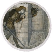 Theseus And The Minotaur In The Labyrinth Round Beach Towel by Edward Burne-Jones