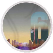 Toronto Skyline - The Six Round Beach Towel by Serge Averbukh