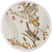 Tree Sparrow Round Beach Towel by John James Audubon