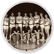 University Of Michigan Basketball Team 1960-61 Round Beach Towel by Mountain Dreams