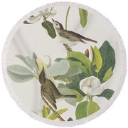 Warbling Flycatcher Round Beach Towel by John James Audubon