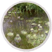 Waterlilies At Midday Round Beach Towel by Claude Monet