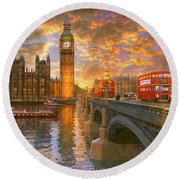 Westminster Sunset Round Beach Towel by Dominic Davison