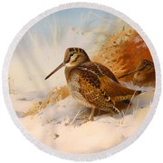 Winter Woodcock Round Beach Towel by Mountain Dreams
