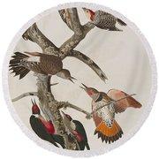 Woodpeckers Round Beach Towel by John James Audubon