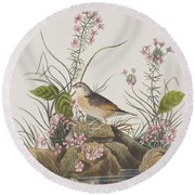 Yellow-winged Sparrow Round Beach Towel by John James Audubon