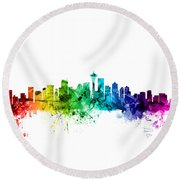 Seattle Washington Skyline Round Beach Towel by Michael Tompsett