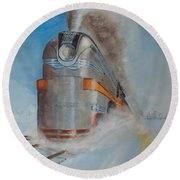 104 Mph In The Snow Round Beach Towel by Christopher Jenkins