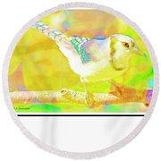 Round Beach Towel featuring the digital art Blue Jay, Animal Portrait by A Gurmankin