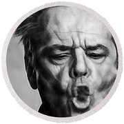 Jack Nicholson Collection Round Beach Towel by Marvin Blaine