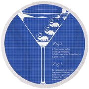 1897 Dirty Martini Blueprint Round Beach Towel by Jon Neidert