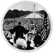 Martin Luther King Jr Round Beach Towel by American School