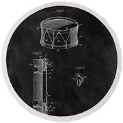 1905 Drum Patent Illustration Round Beach Towel by Dan Sproul