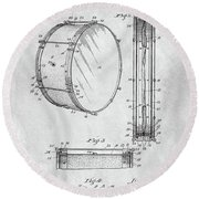 1908 Drum Patent Illustration Round Beach Towel by Dan Sproul