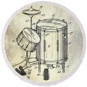 1951 Drum Kit Patent  Round Beach Towel by Jon Neidert