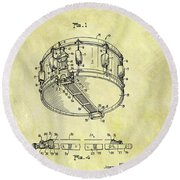 1963 Drum Patent Round Beach Towel by Dan Sproul
