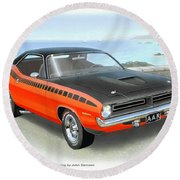 1970 Barracuda Aar  Cuda Classic Muscle Car Round Beach Towel by John Samsen