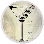 1897 Dirty Martini Patent Round Beach Towel by Jon Neidert