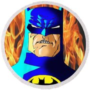 Old Batman Round Beach Towel by Salman Ravish