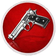 Beretta 92fs Inox Over Red Leather  Round Beach Towel by Serge Averbukh