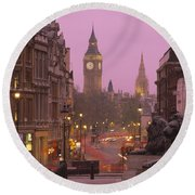 Big Ben London England Round Beach Towel by Panoramic Images