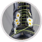 Boots With Daisy Flowers Round Beach Towel by Nailia Schwarz