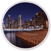 Chicago From The North Round Beach Towel by Frozen in Time Fine Art Photography