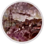 City-art London Westminster Bridge At Sunset Round Beach Towel by Melanie Viola