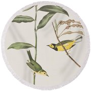 Hooded Warbler  Round Beach Towel by John James Audubon